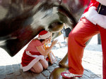Santa checking the important parts of the Wall St. bull